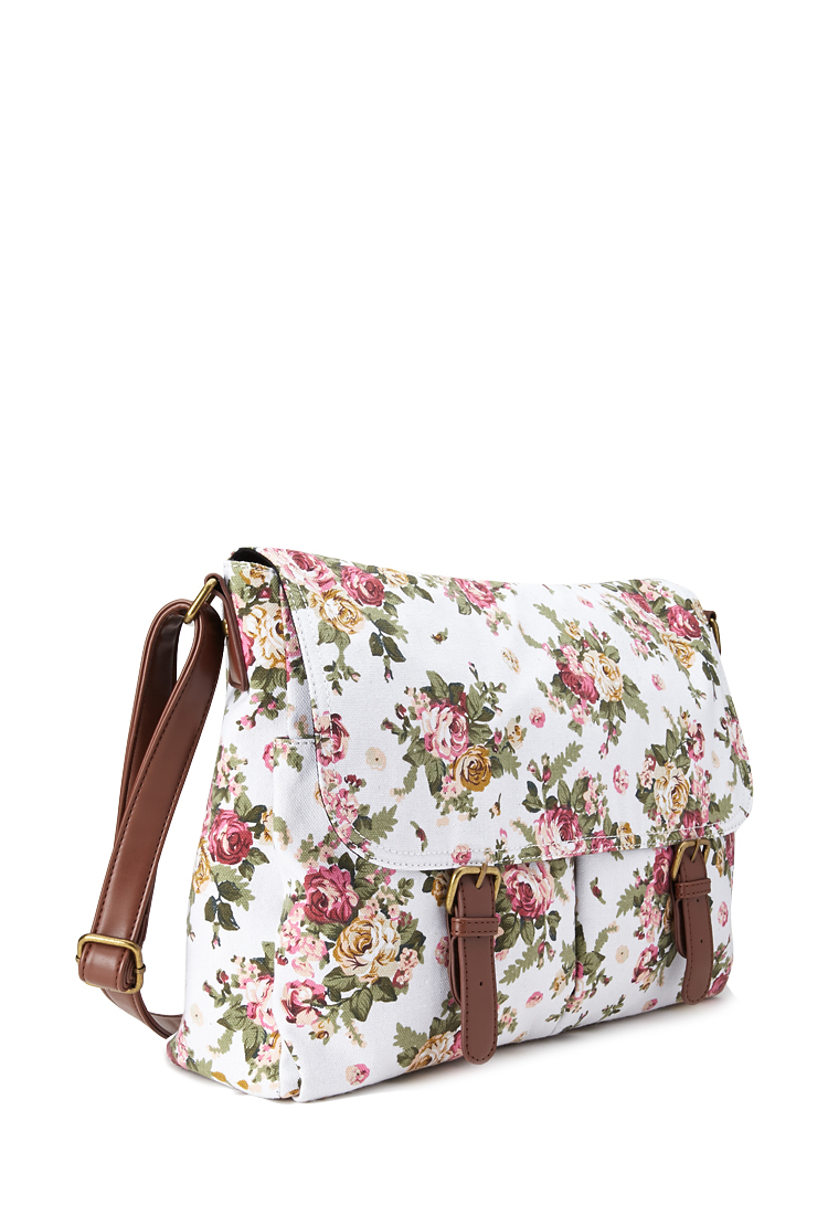 Lyst - Forever 21 Floral Canvas Messenger Bag In Brown