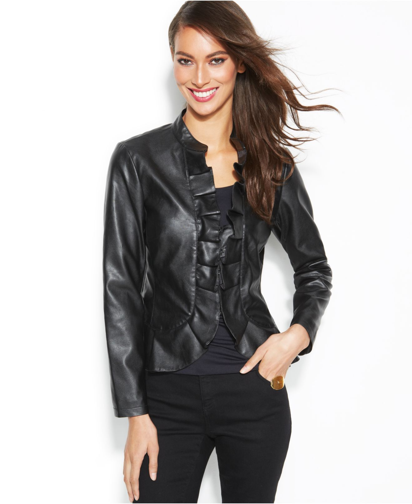 3b9df9ee2 INC International Concepts Black Faux-Leather Ruffle Jacket