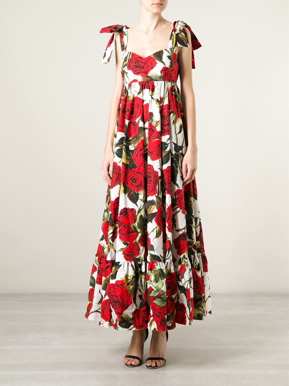 Lyst Dolce Amp Gabbana Rose Print Gown In Pink