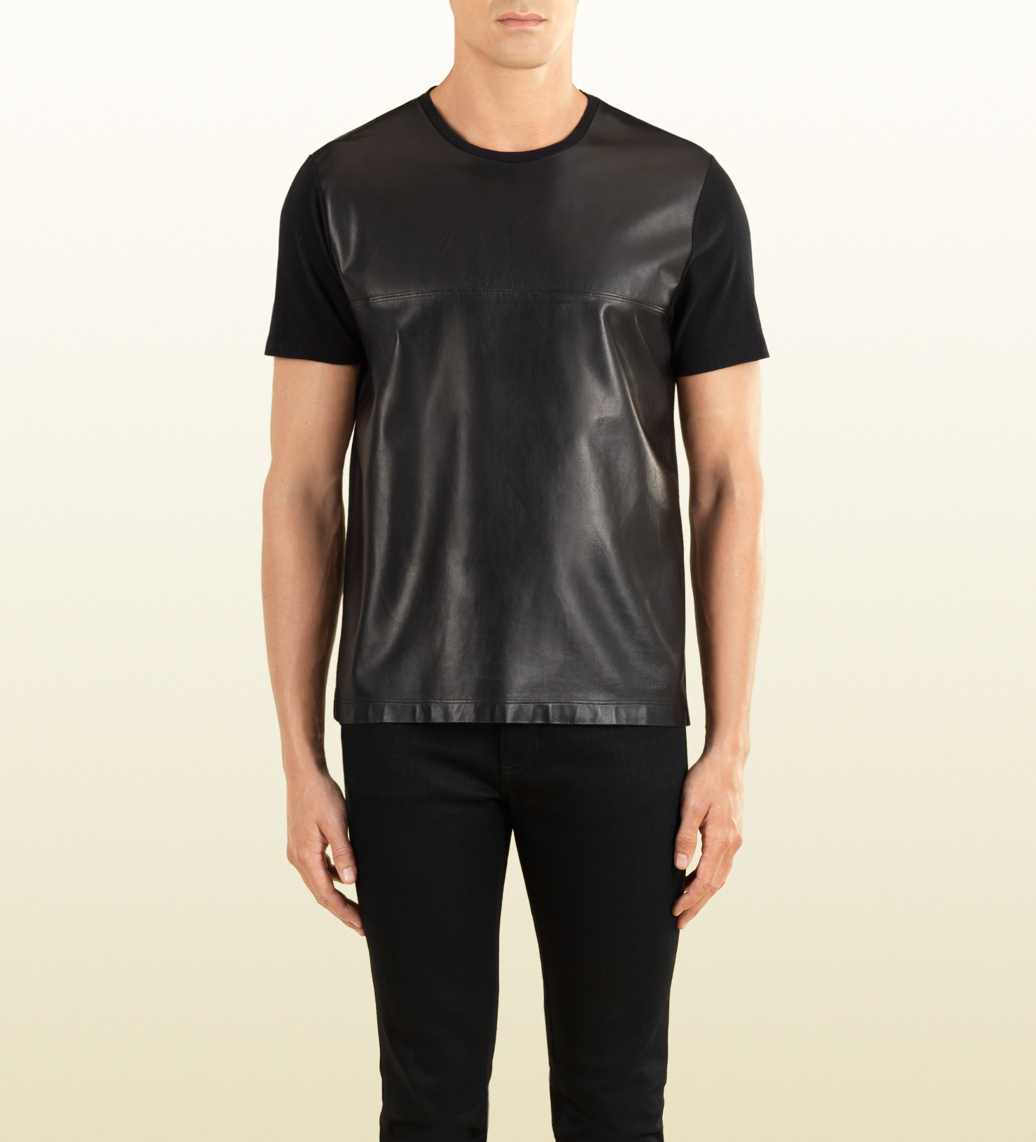 gucci t shirt with leather front in black for men lyst. Black Bedroom Furniture Sets. Home Design Ideas