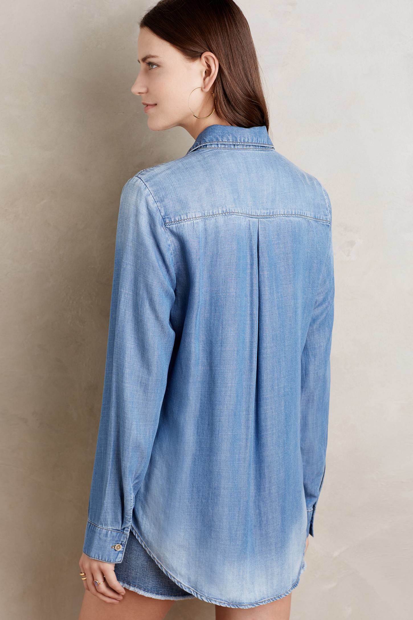 Cloth Amp Stone Lace Front Chambray Top In Blue Lyst