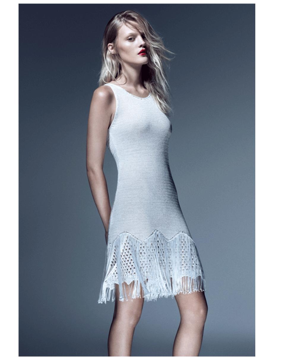 Lyst - Cecilia Prado Fringe Bottom Knit Dress in White