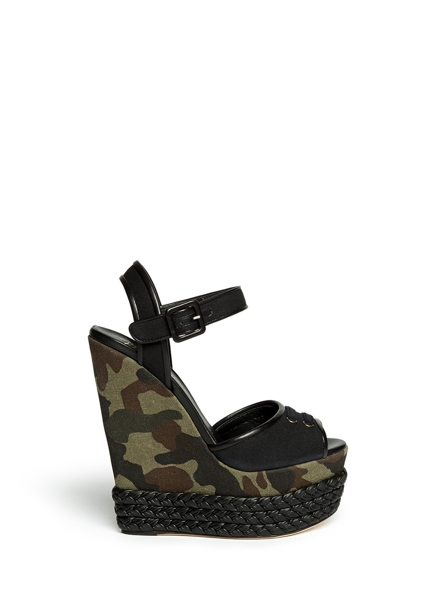 Giuseppe Zanotti Camouflage Canvas Wedge Sandals In Green