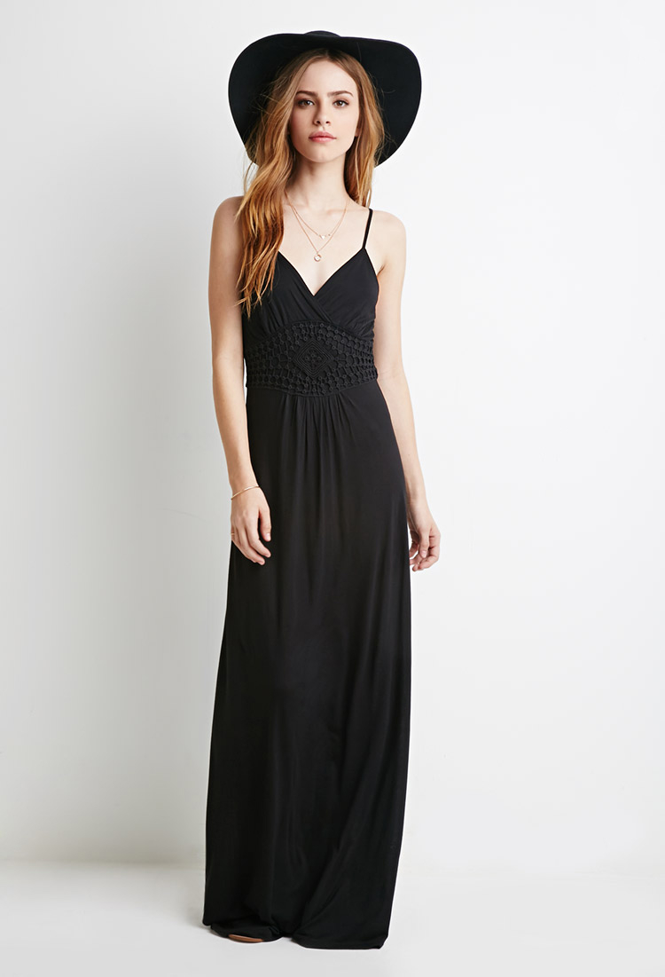 9b8693a5d8 Forever 21 Crochet Paneled Surplice Maxi Dress In Black Lyst. Plus Size ...