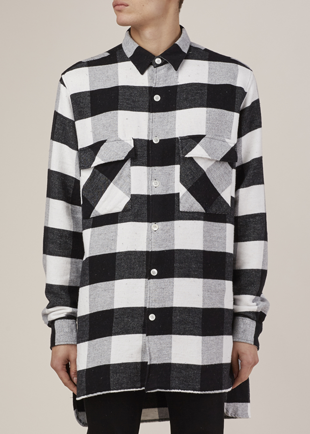 Our legacy black white flannel plaid 2 pocket shirt coat for White flannel shirt mens