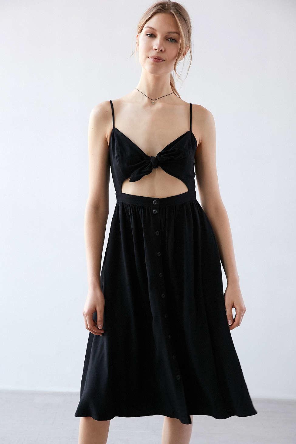 92d7603e65 Lyst - Kimchi Blue Tie-front Cutout Midi Dress in Black
