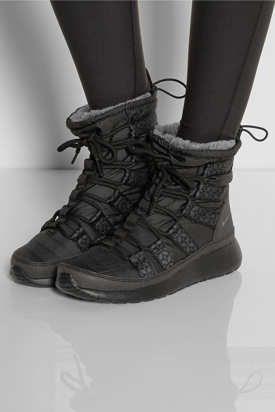 Nike Roshe Run Hi Shell Sneaker Style Boots In Black Lyst