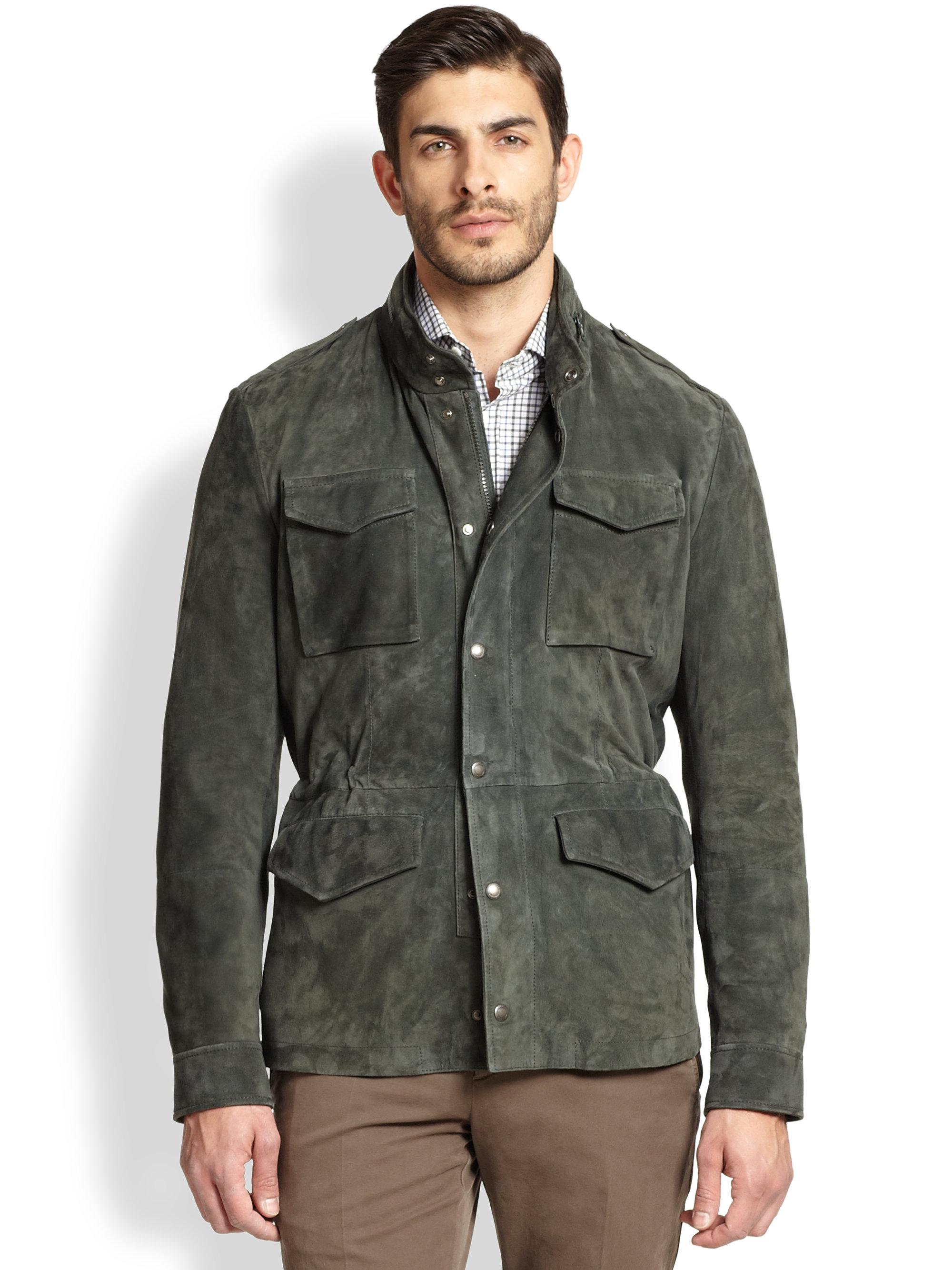 Brunello Cucinelli Suede Field Jacket In Green For Men Lyst
