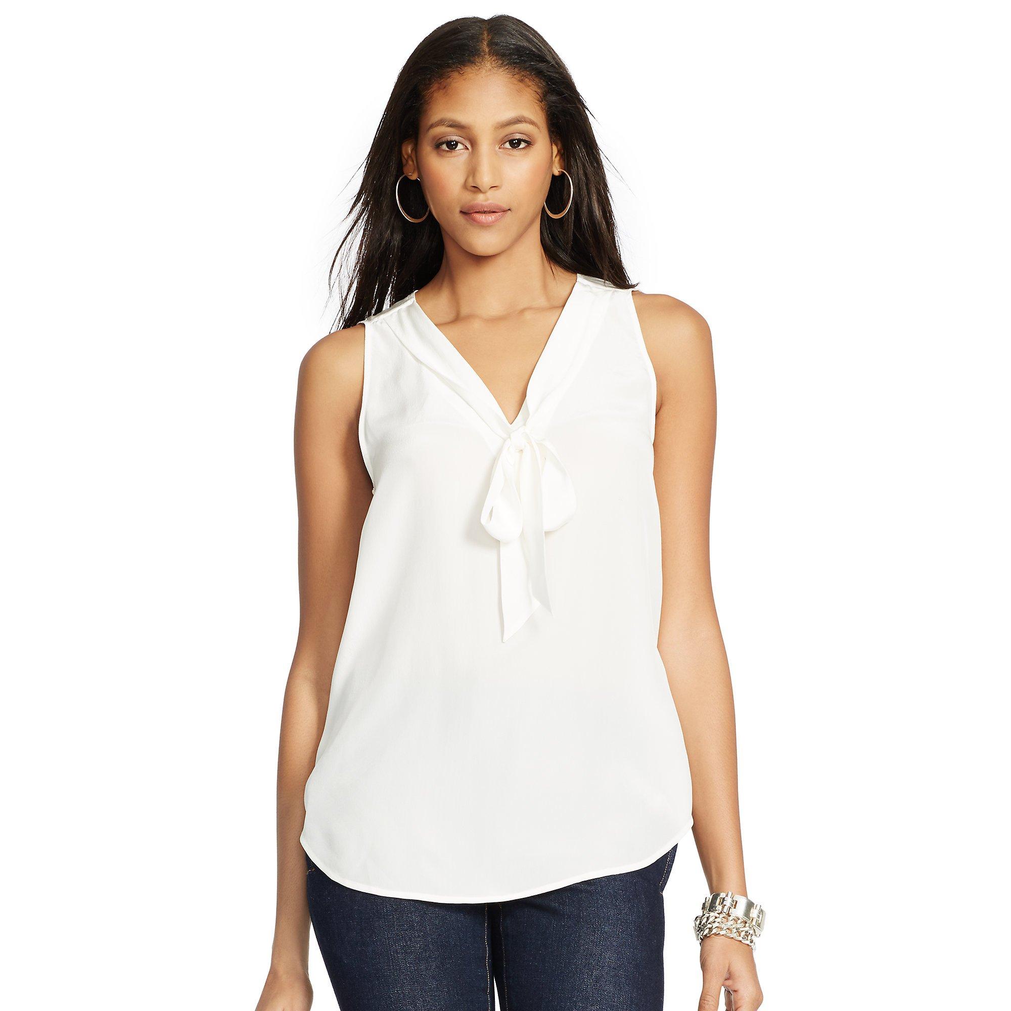 34f7c2a5d0056 Lyst - Polo Ralph Lauren Silk Necktie Sleeveless Shirt in White