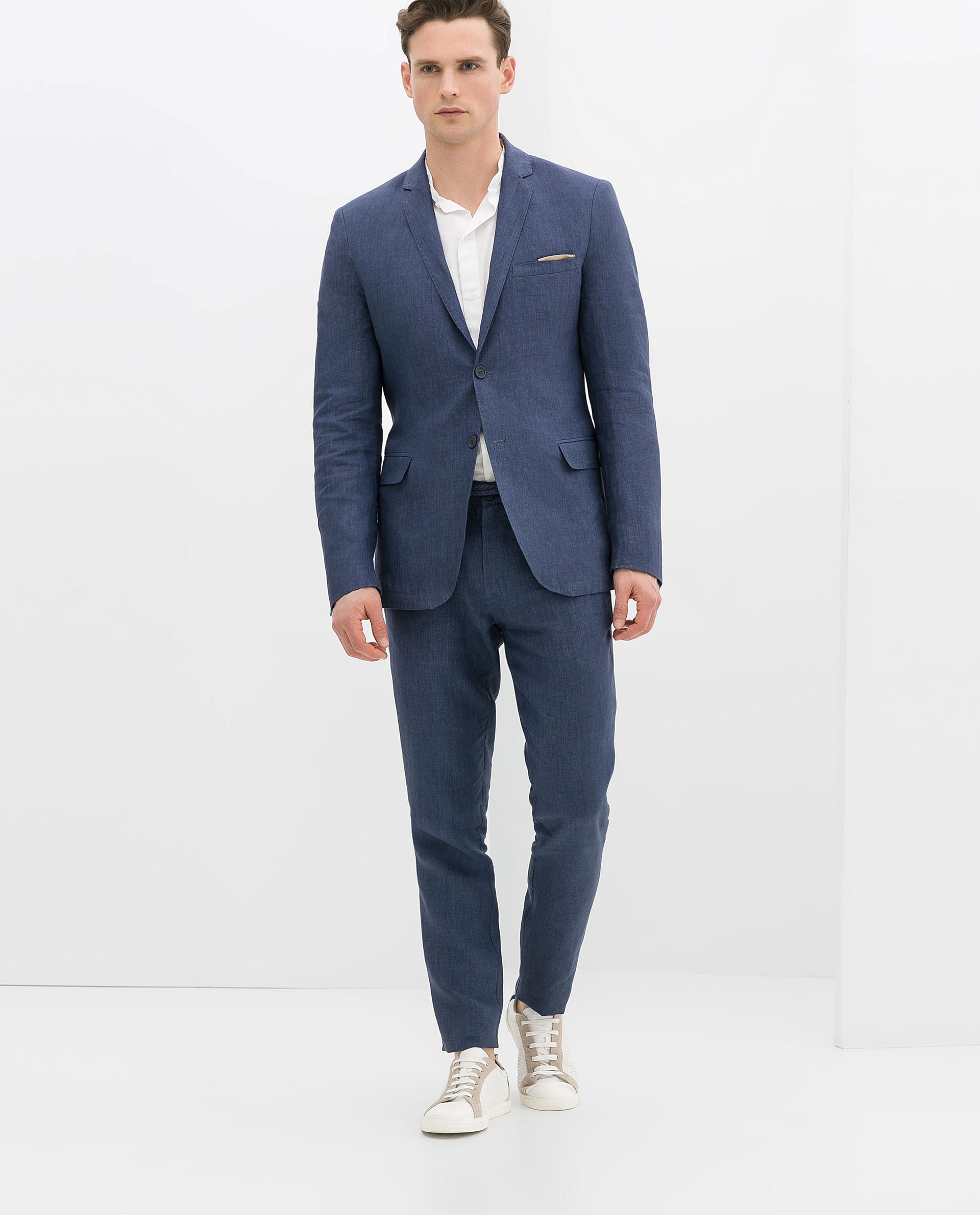 Zara Linen Blazer in Blue for Men | Lyst