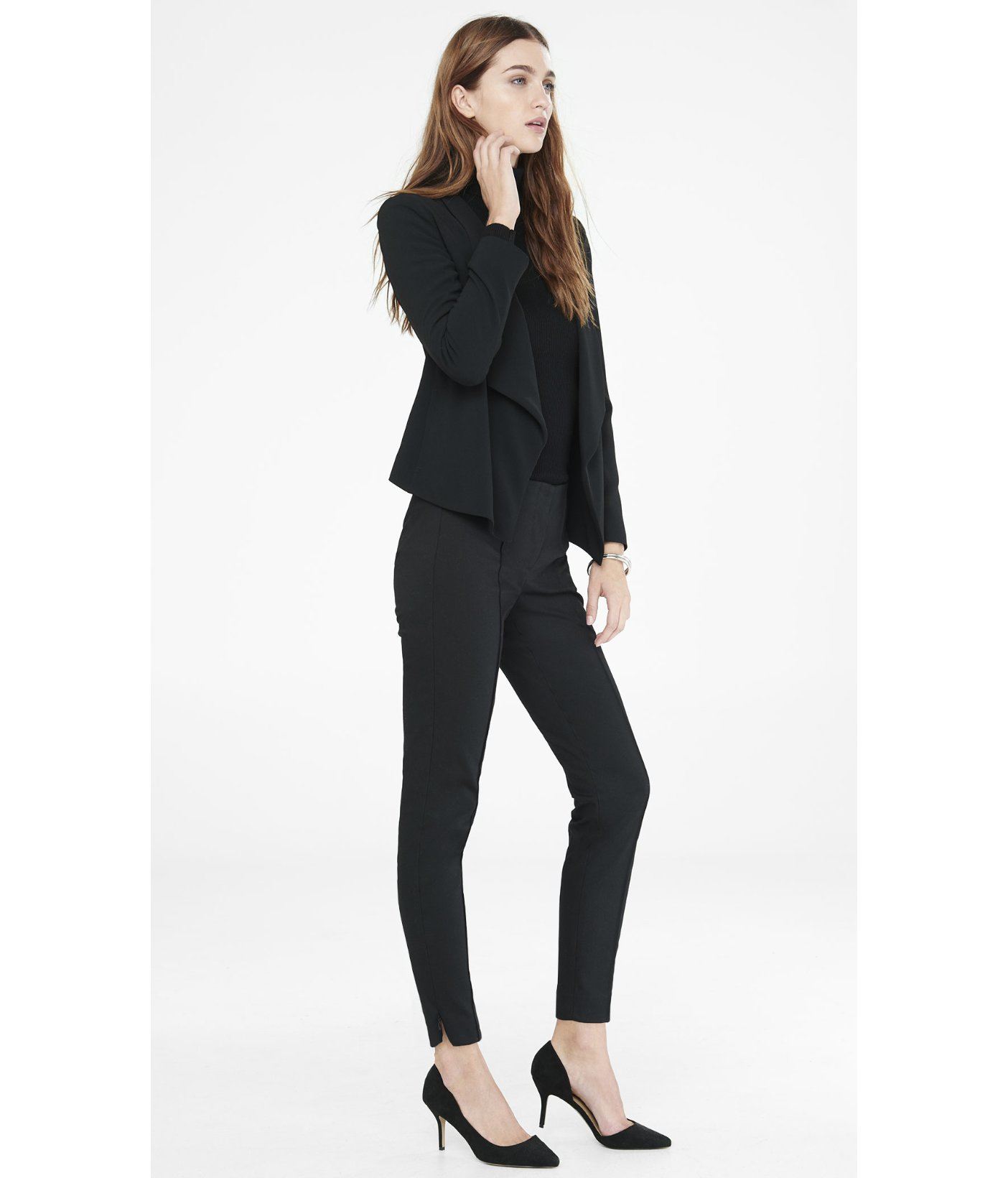 Express Pintucked Hollywood Waistband Zip Ankle Pant in Black