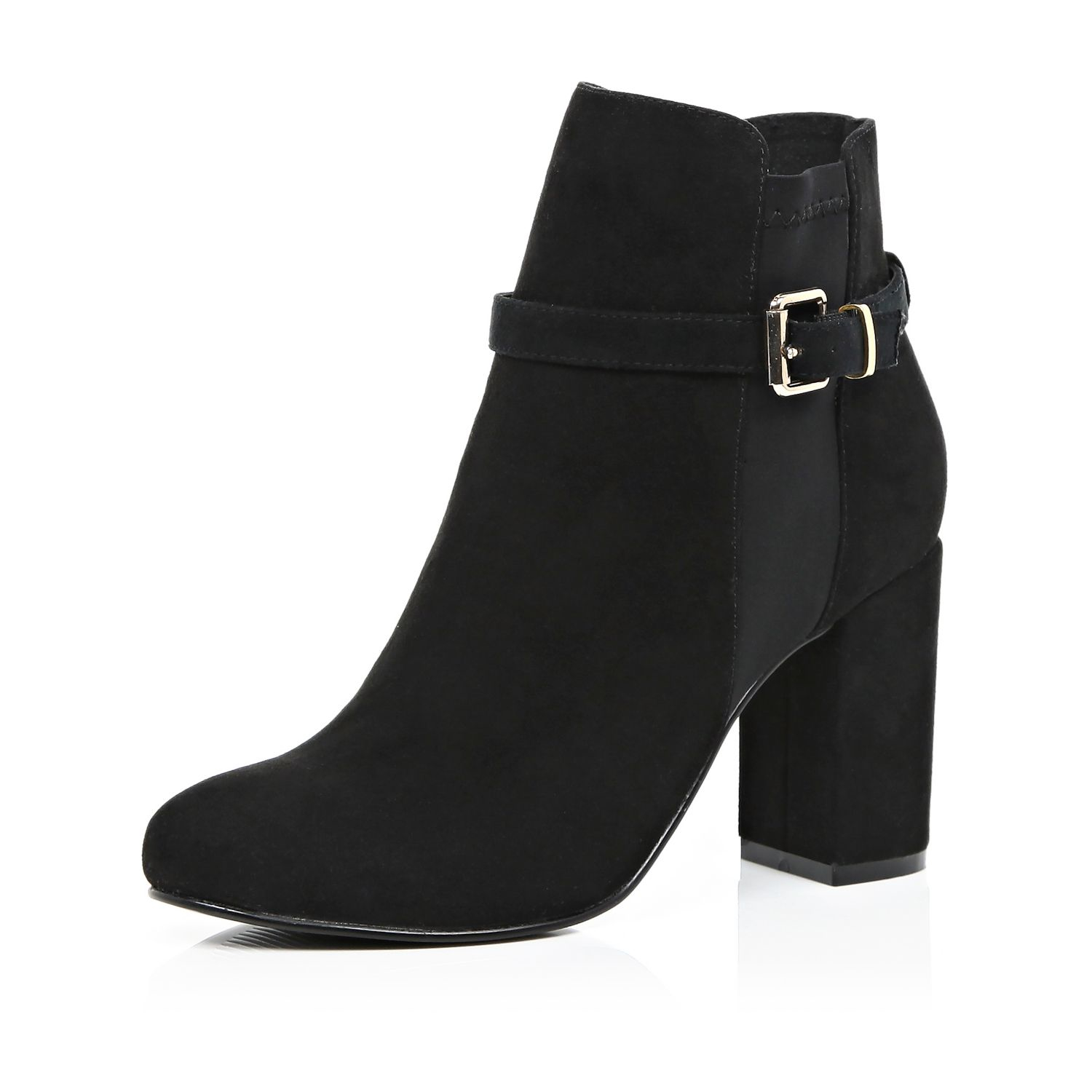 river island black faux suede block heel ankle boots in