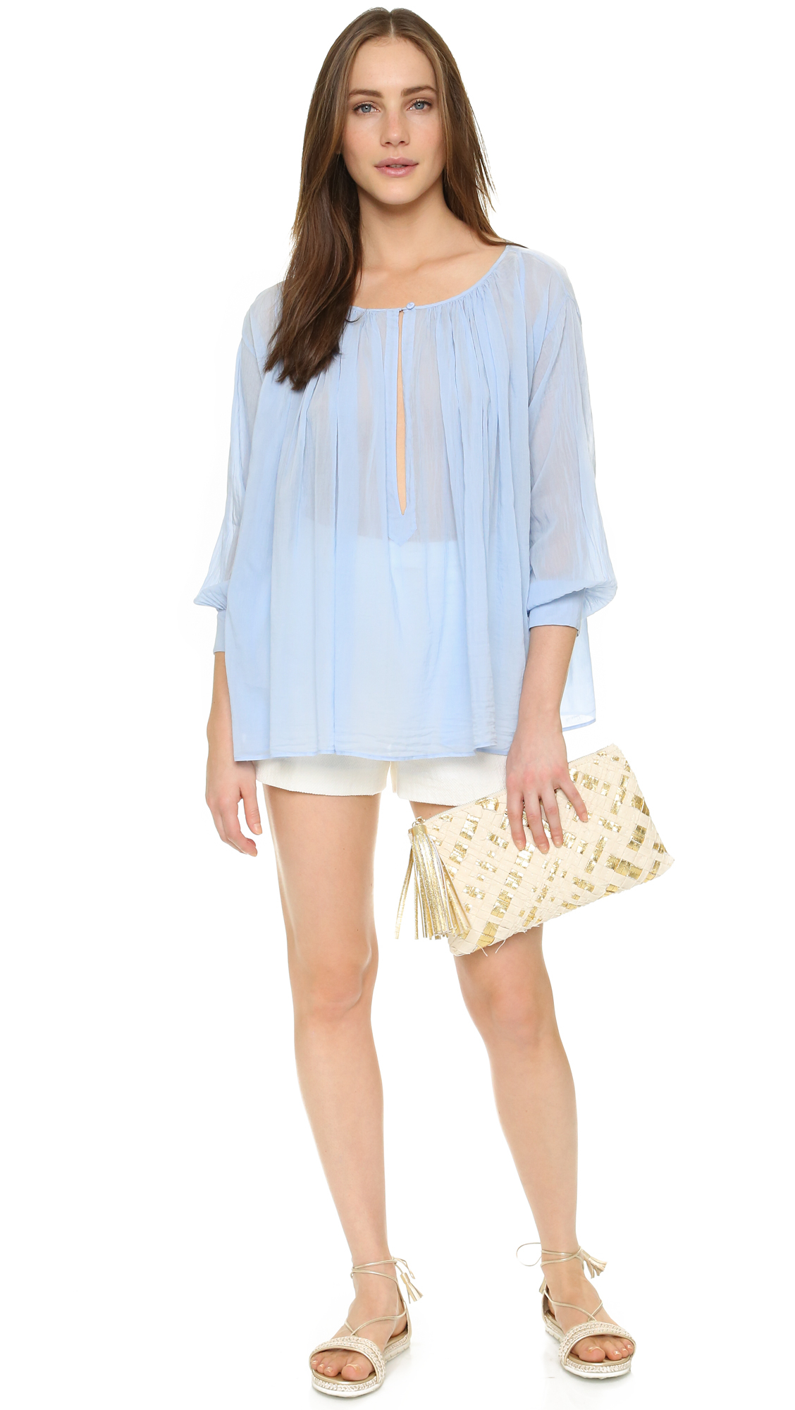 Giada forte Voile Curled Shirt in Blue