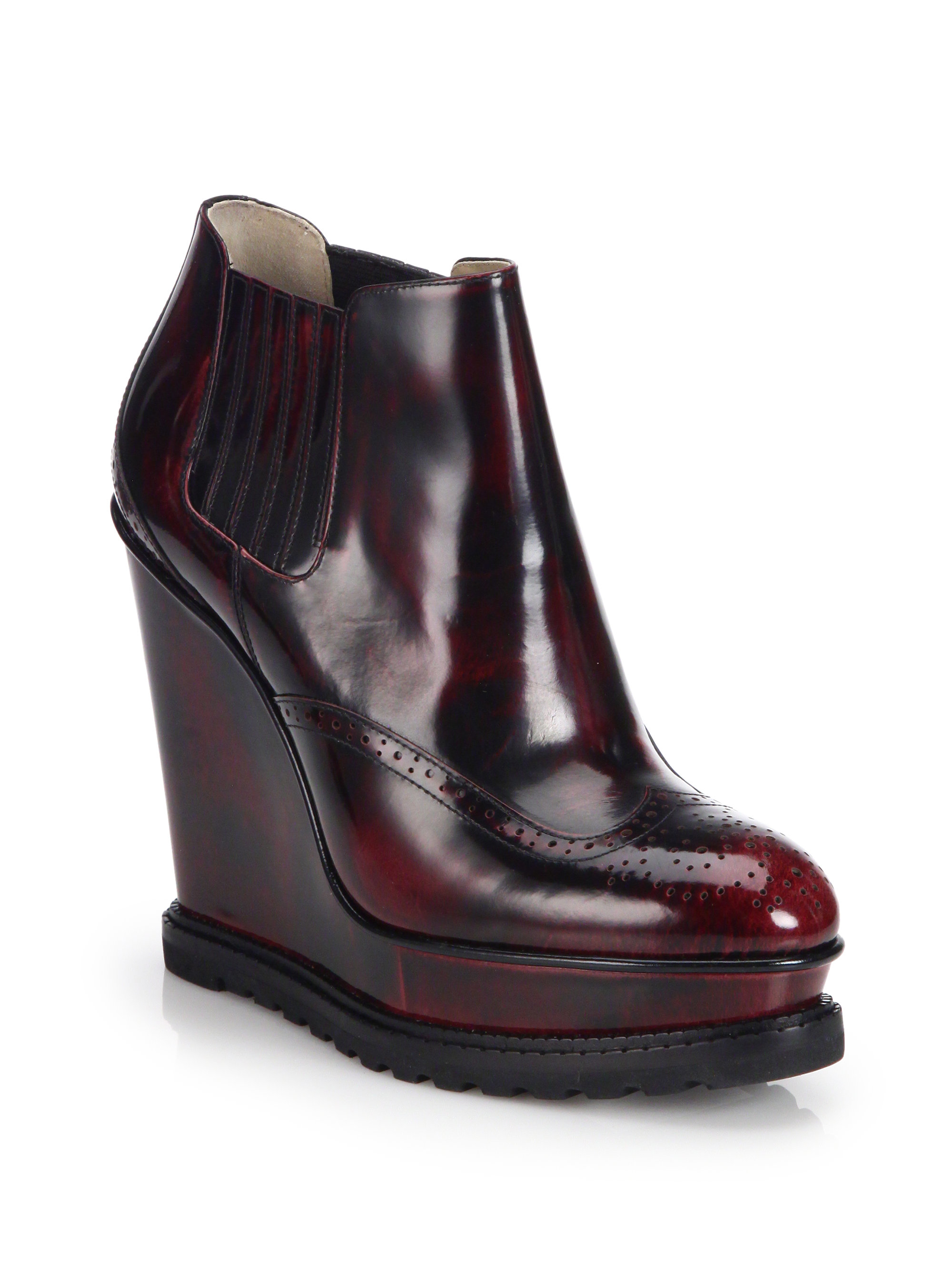 michael kors collette patent leather wedge ankle boots in