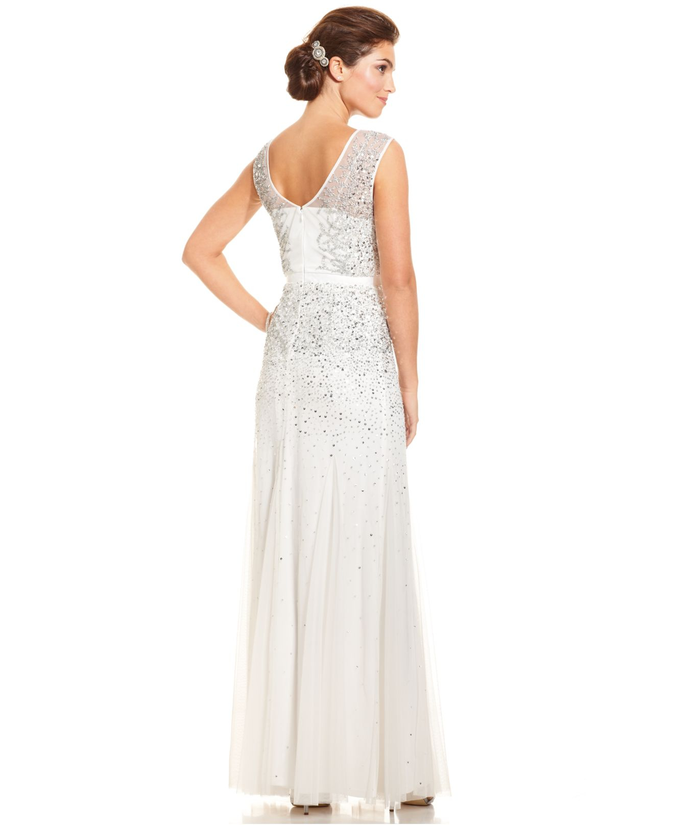 Lyst - Adrianna Papell Sleeveless Beaded Illusion Gown in White