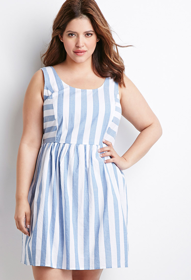Lyst Forever 21 Plus Size Striped Fit Amp Flare Dress In Blue