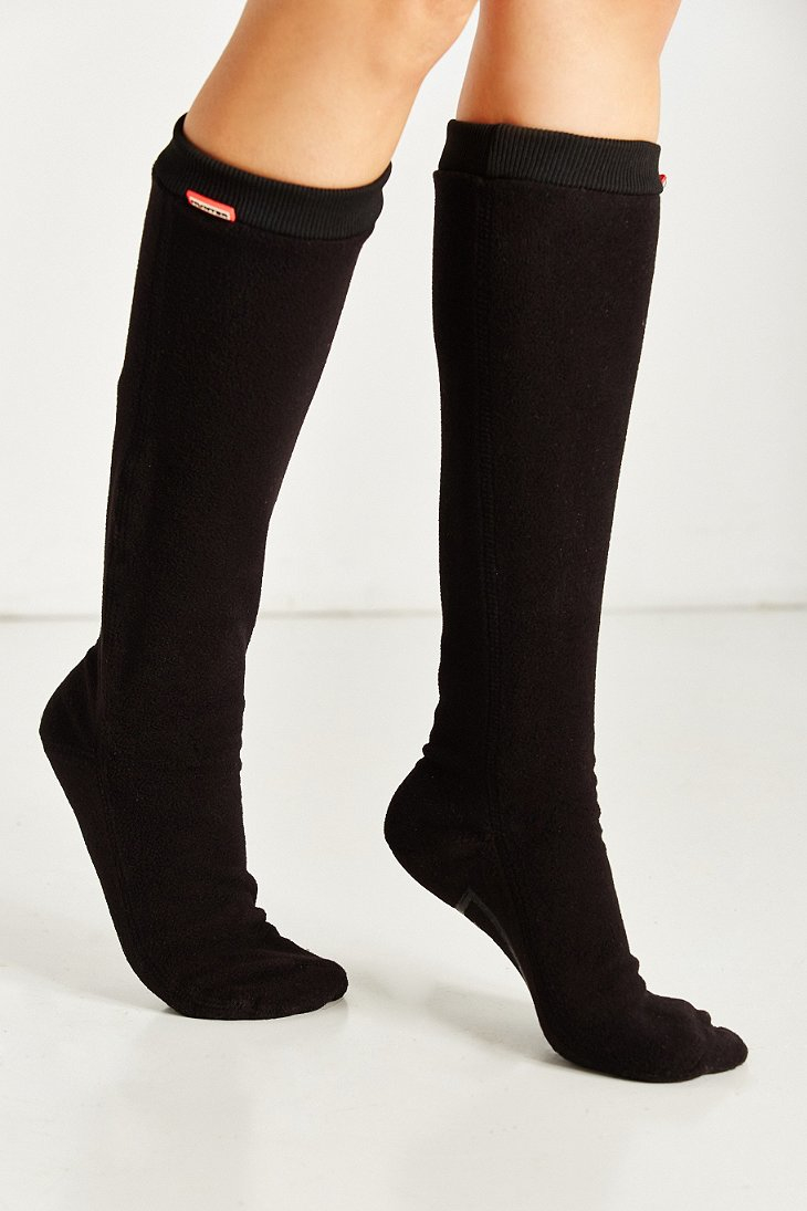 lyst hunter fitted tall boot sock in black