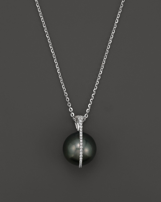 White Pearl Pendant Necklace: Tara Pearls Tahitian Cultured Pearl And Diamond Pendant
