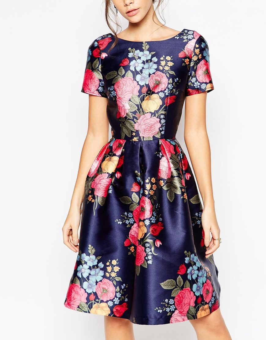 Lyst Chi Chi London Midi Prom Dress With Full Skirt And
