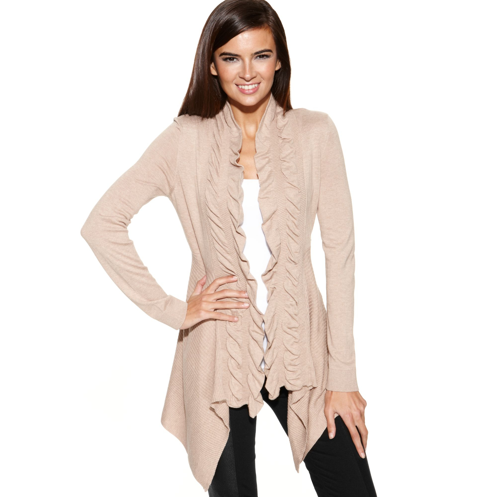 c4230c7e937 INC International Concepts Natural Ruffletrim Openfront Cardigan