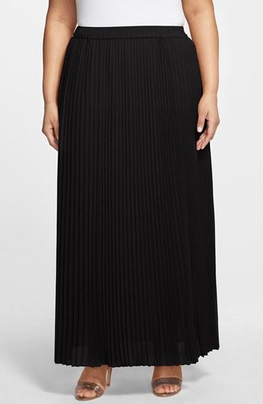sejour pleated chiffon maxi skirt in black lyst