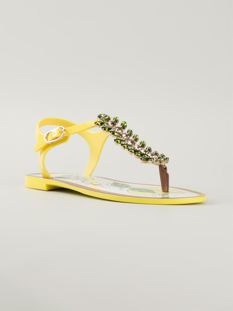 d46096ea98fe Dolce   Gabbana Lemon Embellished Sandals in Yellow - Lyst