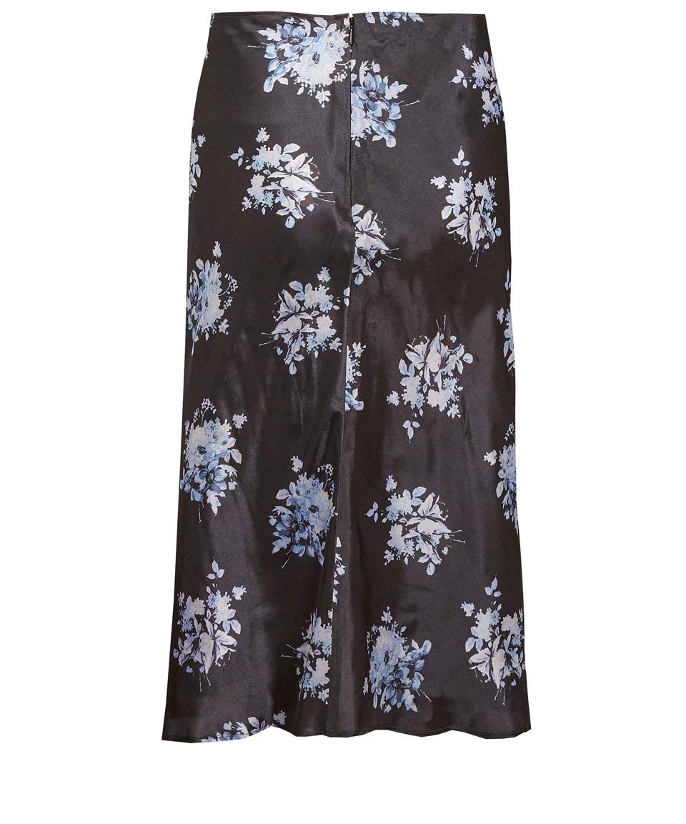 paul smith navy vintage floral print midi skirt in blue