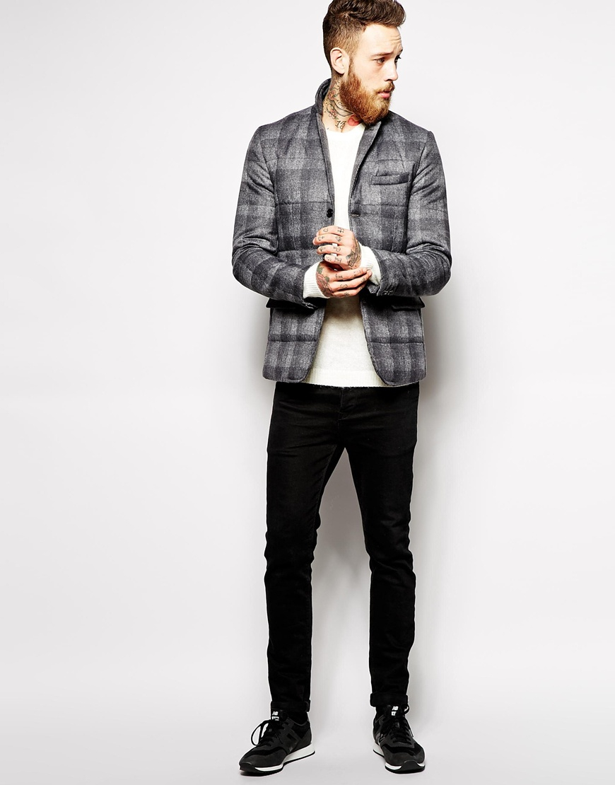 asos slim fit quilted blazer in gray for men lyst. Black Bedroom Furniture Sets. Home Design Ideas