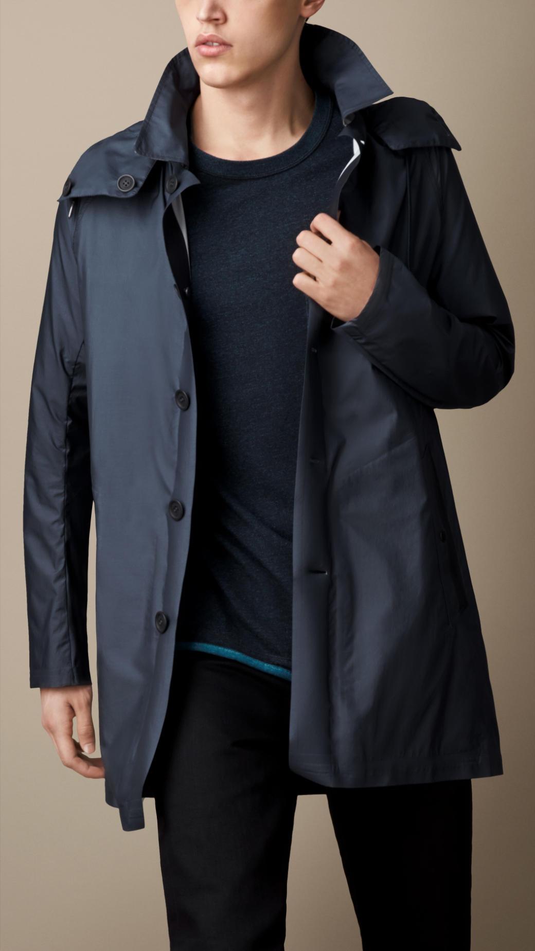 Burberry Showerproof Car Coat in Blue for Men | Lyst