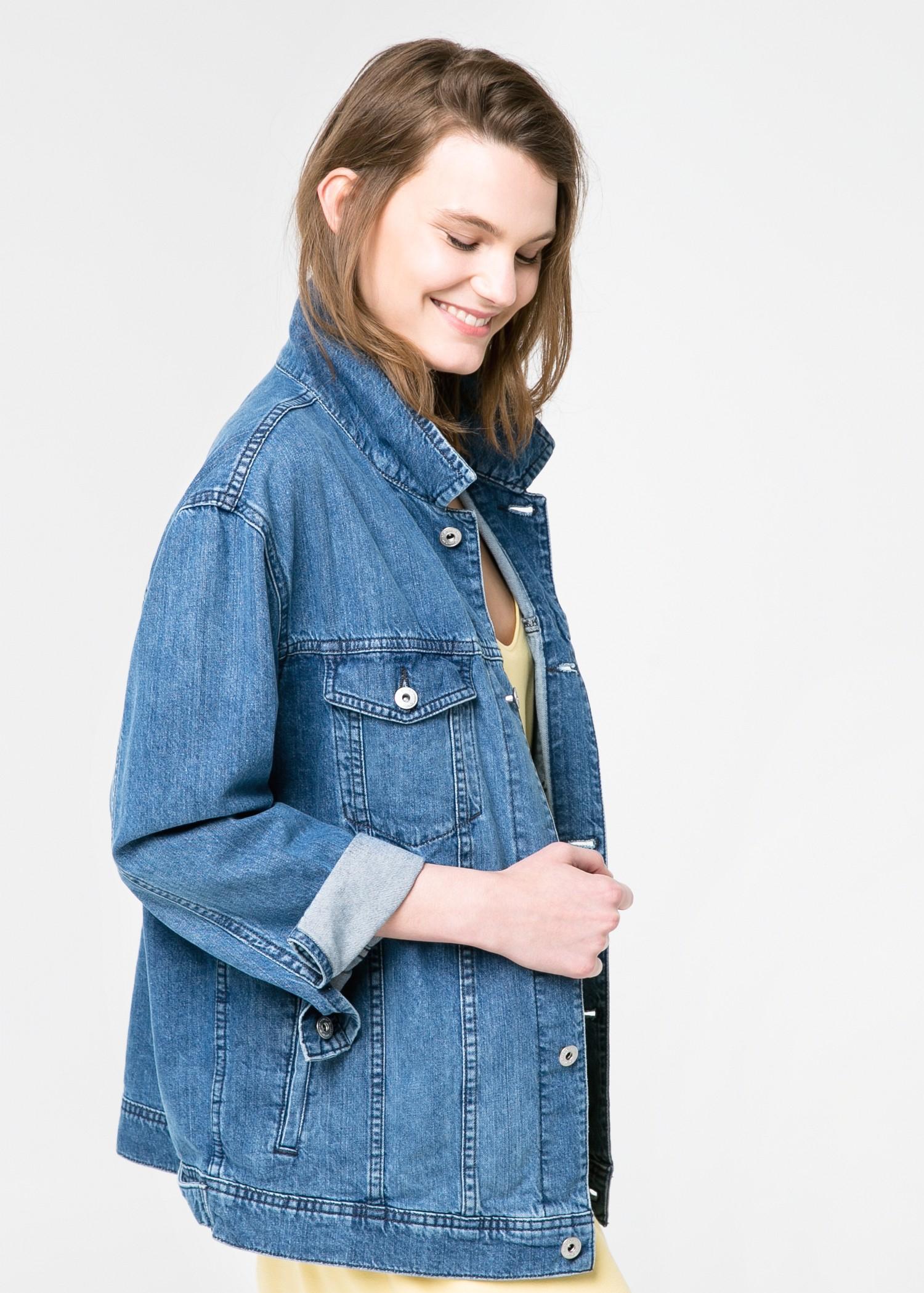 lyst mango oversize denim jacket in blue. Black Bedroom Furniture Sets. Home Design Ideas