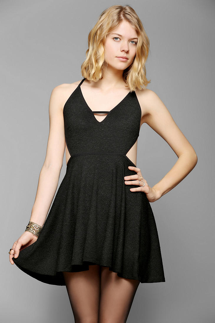 Urban Outfitters Cross Back Fit Flare Dress In Black Lyst