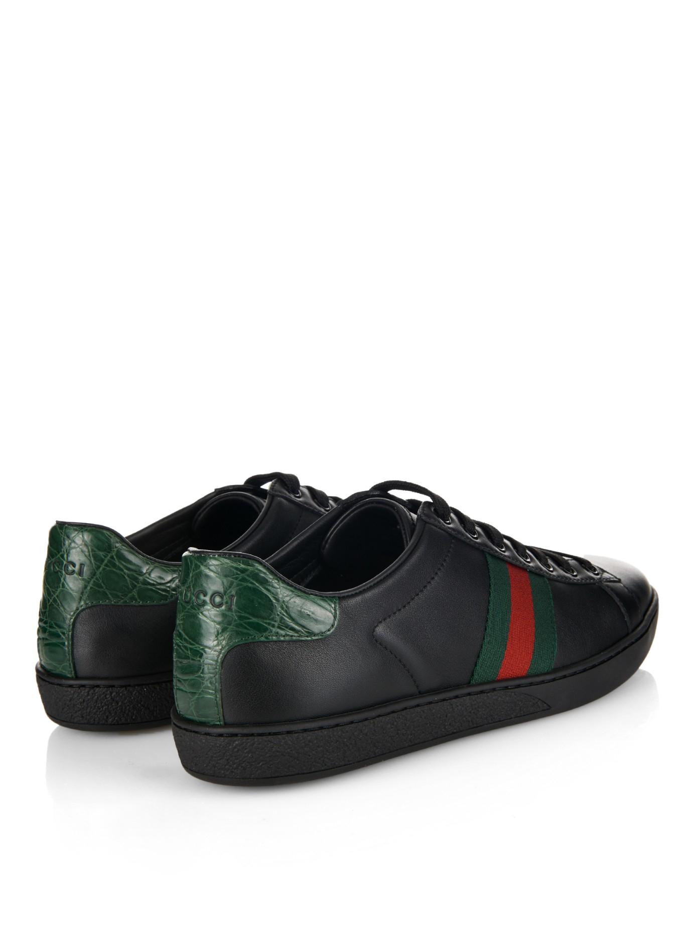 37e5159eb517 Lyst - Gucci Web-Stripe Low-Top Leather Trainers in Black