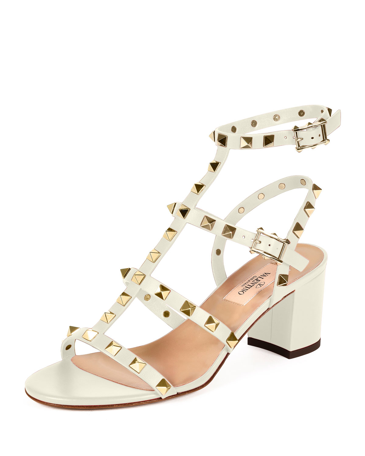 Valentino White Rockstud Leather Sandals discount very cheap free shipping geniue stockist deals sale online latest sale online cdIULQE