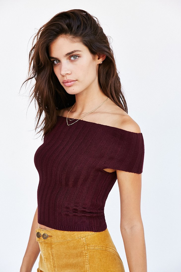 33d7f8910e Lyst - Silence + Noise Off-the-shoulder Sweater Top in Purple