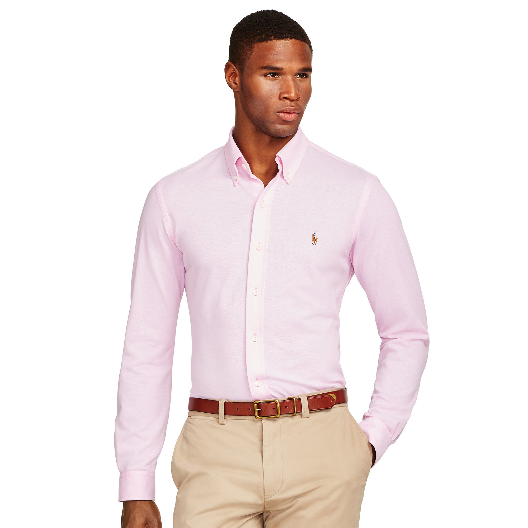 Lyst - Polo Ralph Lauren Knit Oxford Shirt in Pink for Men ac9749221