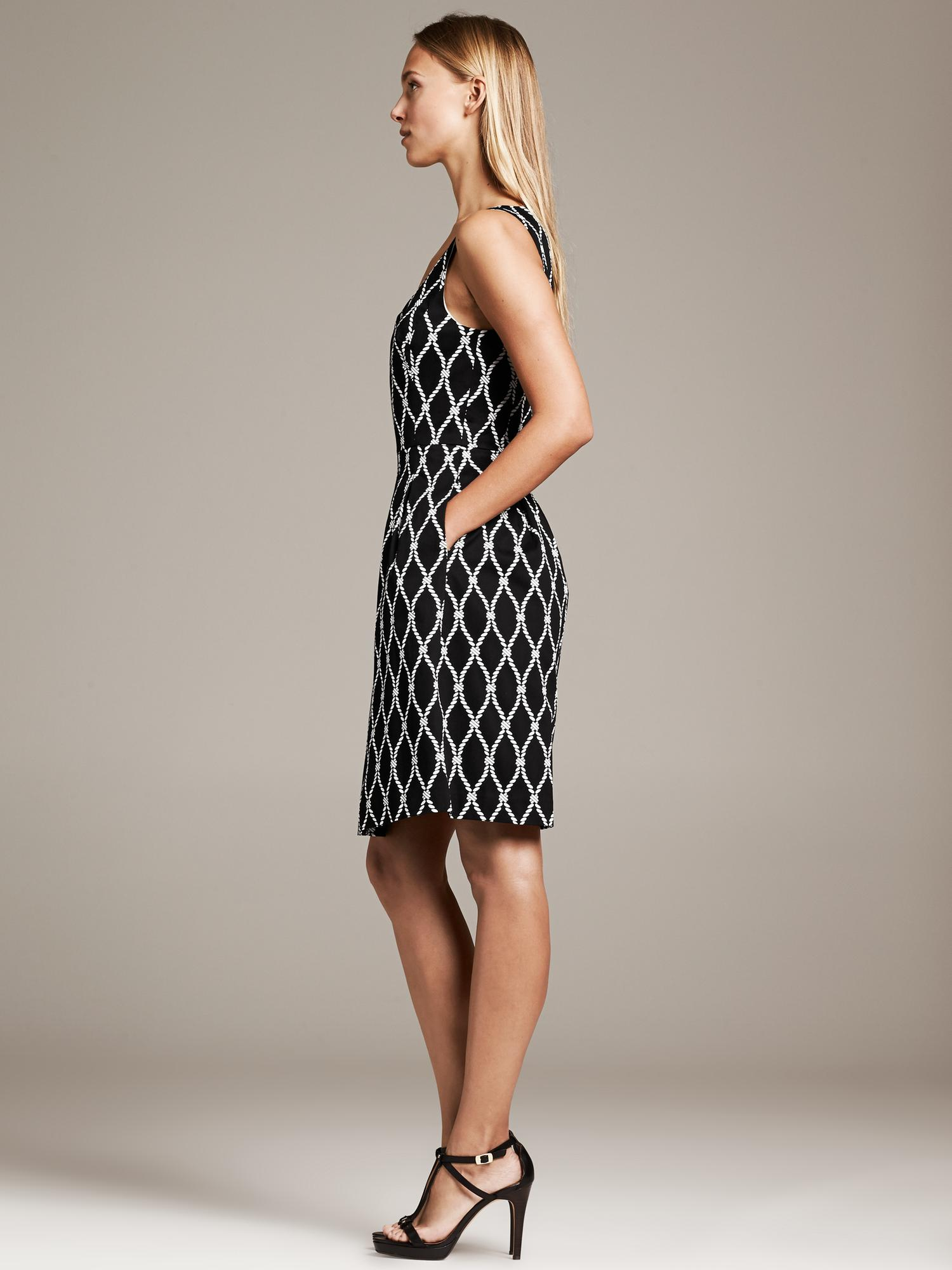 Banana Republic Rope Print Fit And Flare Dress Black Lyst