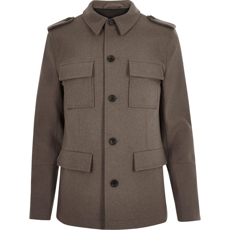 Grey Military Coat | Down Coat