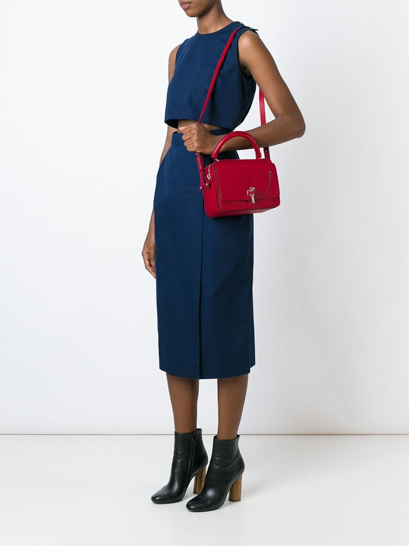 Carven Bar Pin Box Tote in Red
