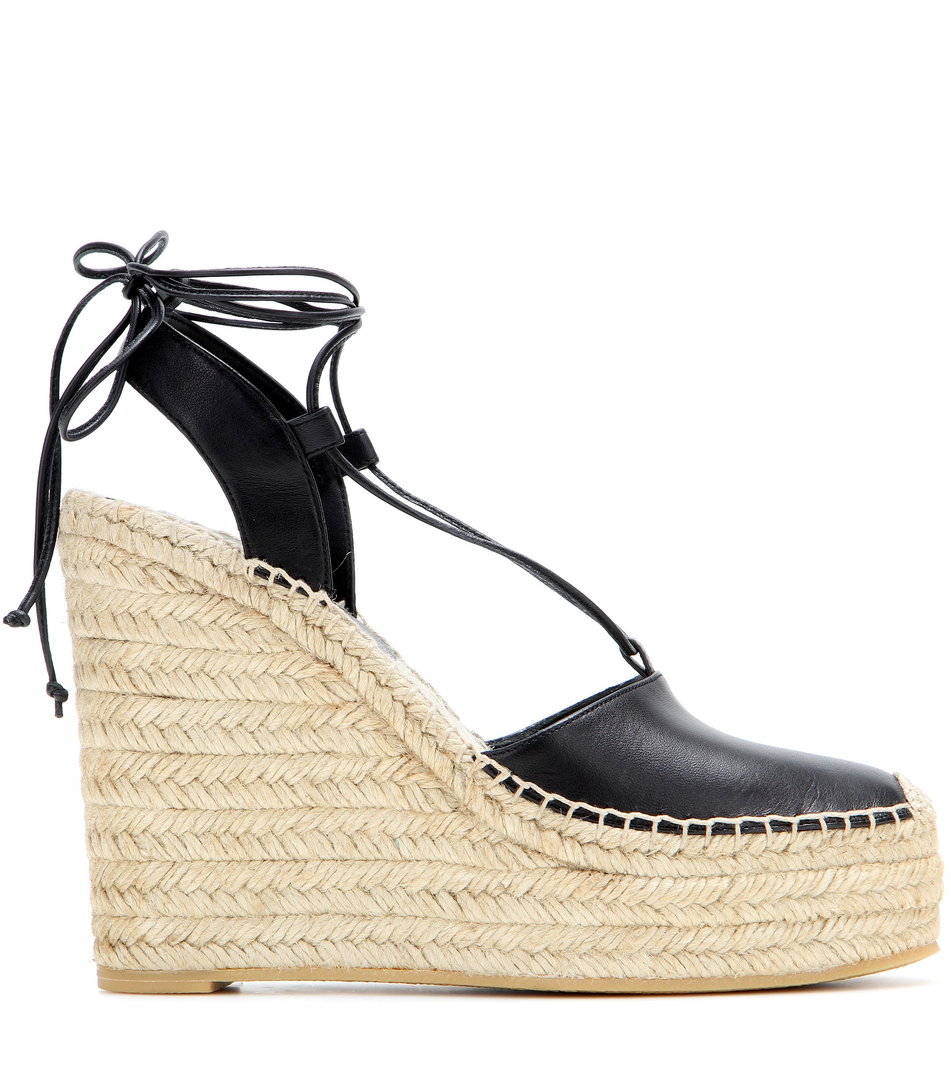e08a0b58cbe Lyst - Saint Laurent Leather Espadrille Wedge Sandals in Natural