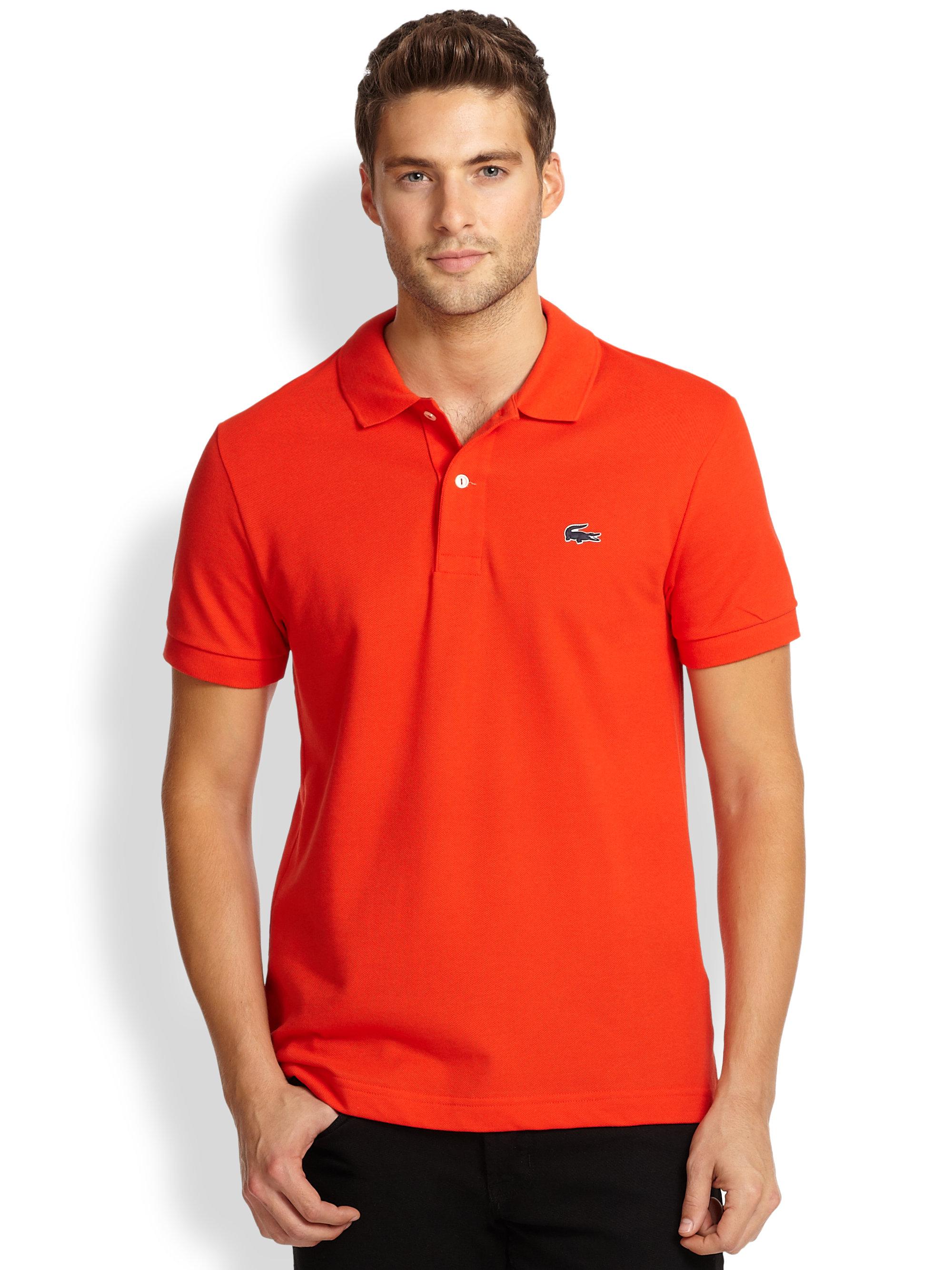 df1366af2f Lacoste Red Piqué Knit Rubber Logo Polo for men