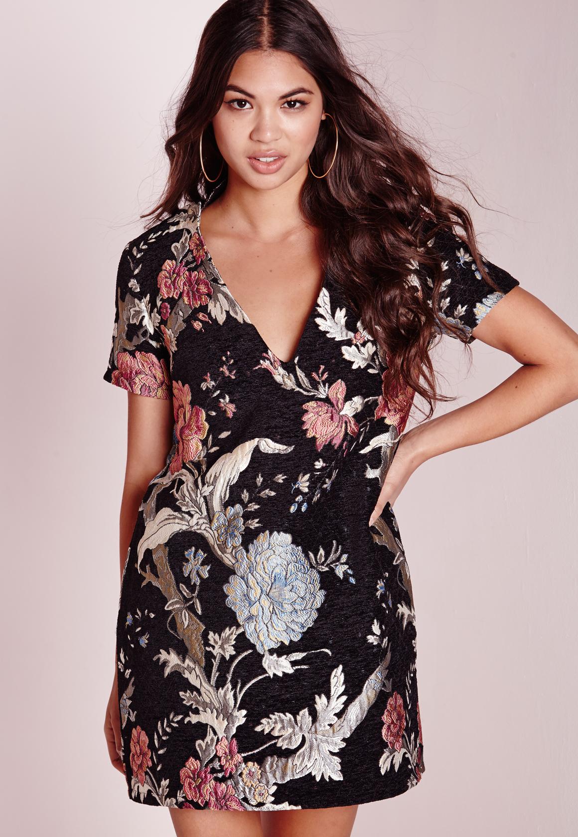 Lyst - Missguided Floral Brocade Plunge Shift Dress Black 69f91ee69