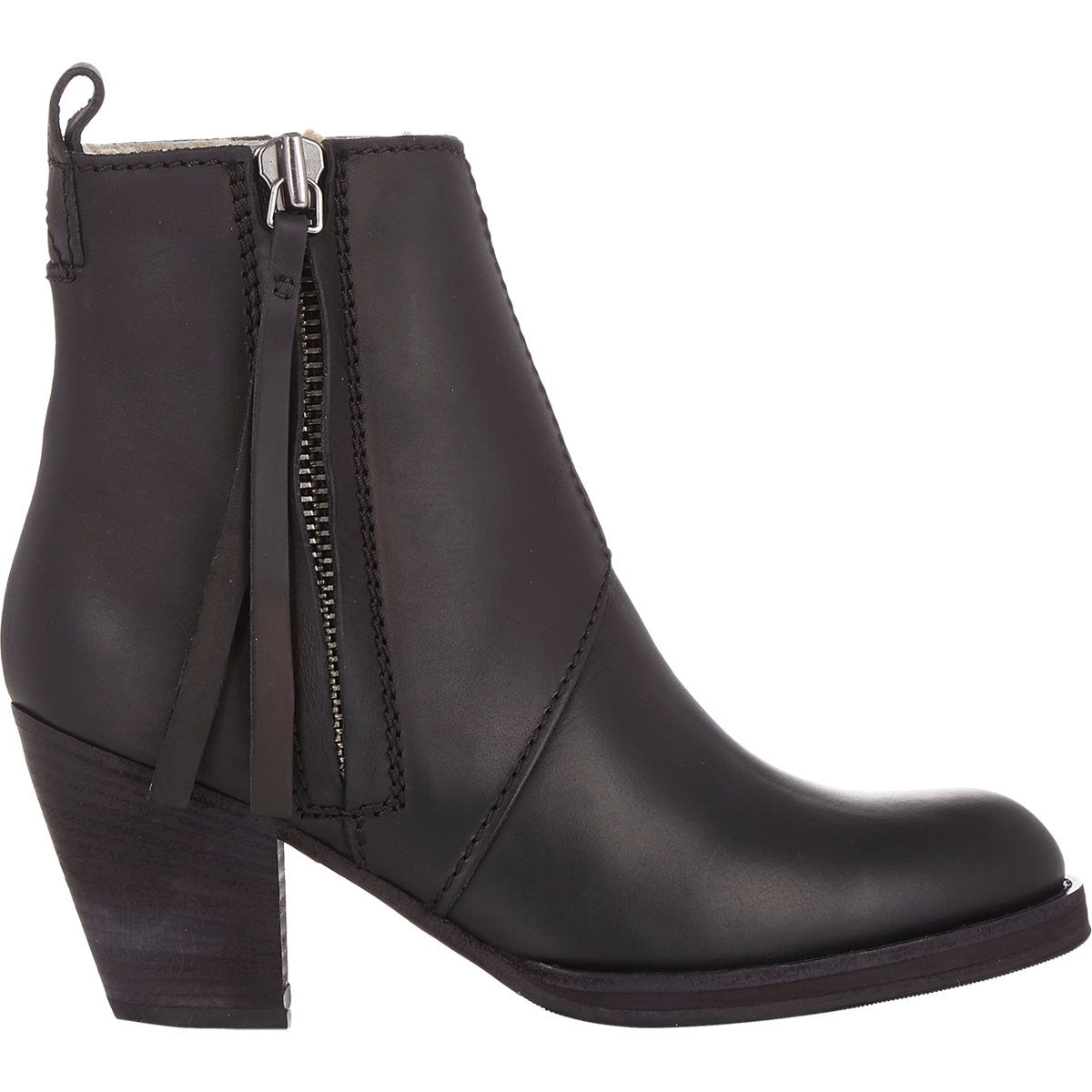acne studios women 39 s shearling lined pistol boots in black lyst. Black Bedroom Furniture Sets. Home Design Ideas