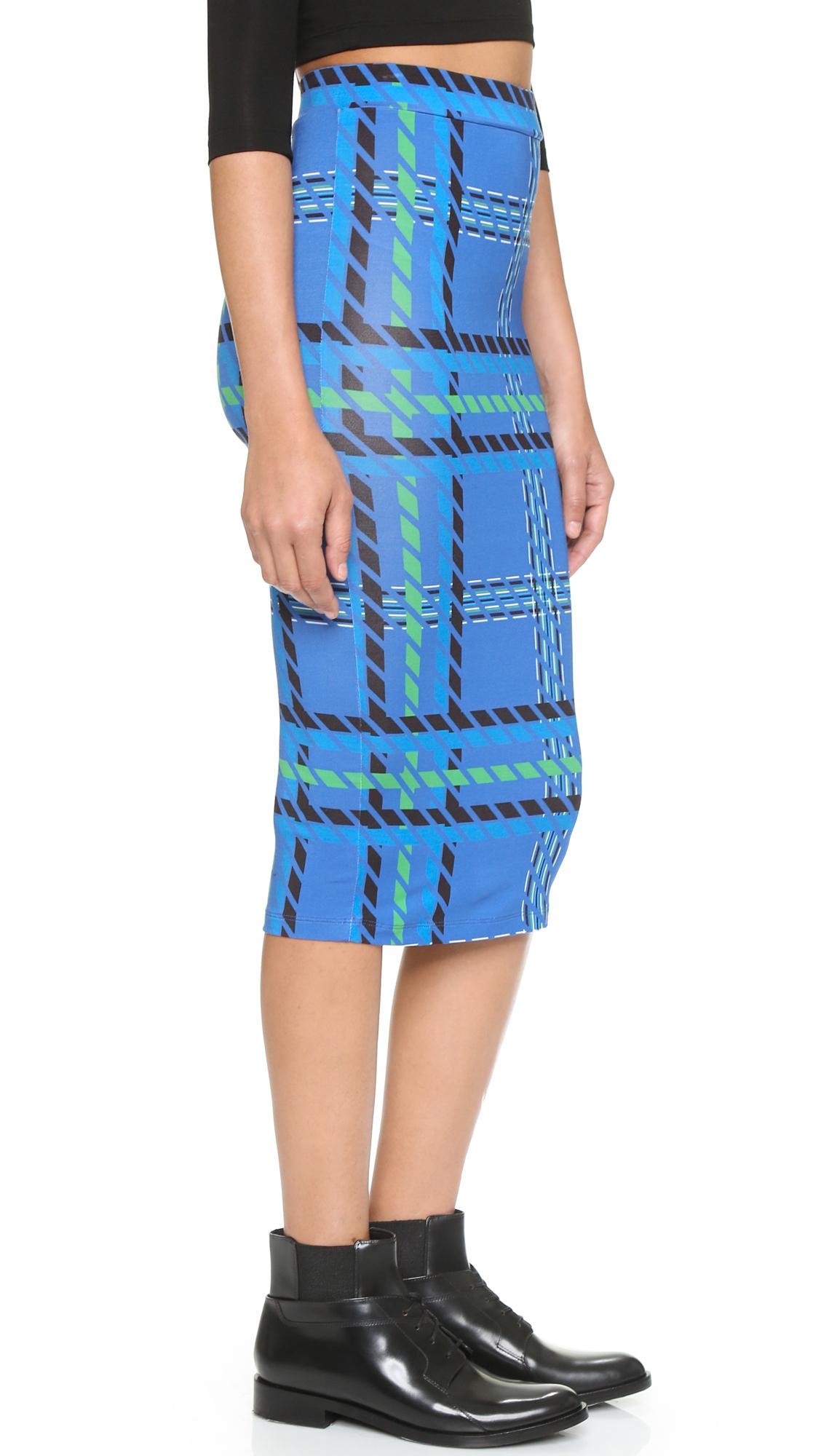 house of tartan pencil skirt blue tartan in blue