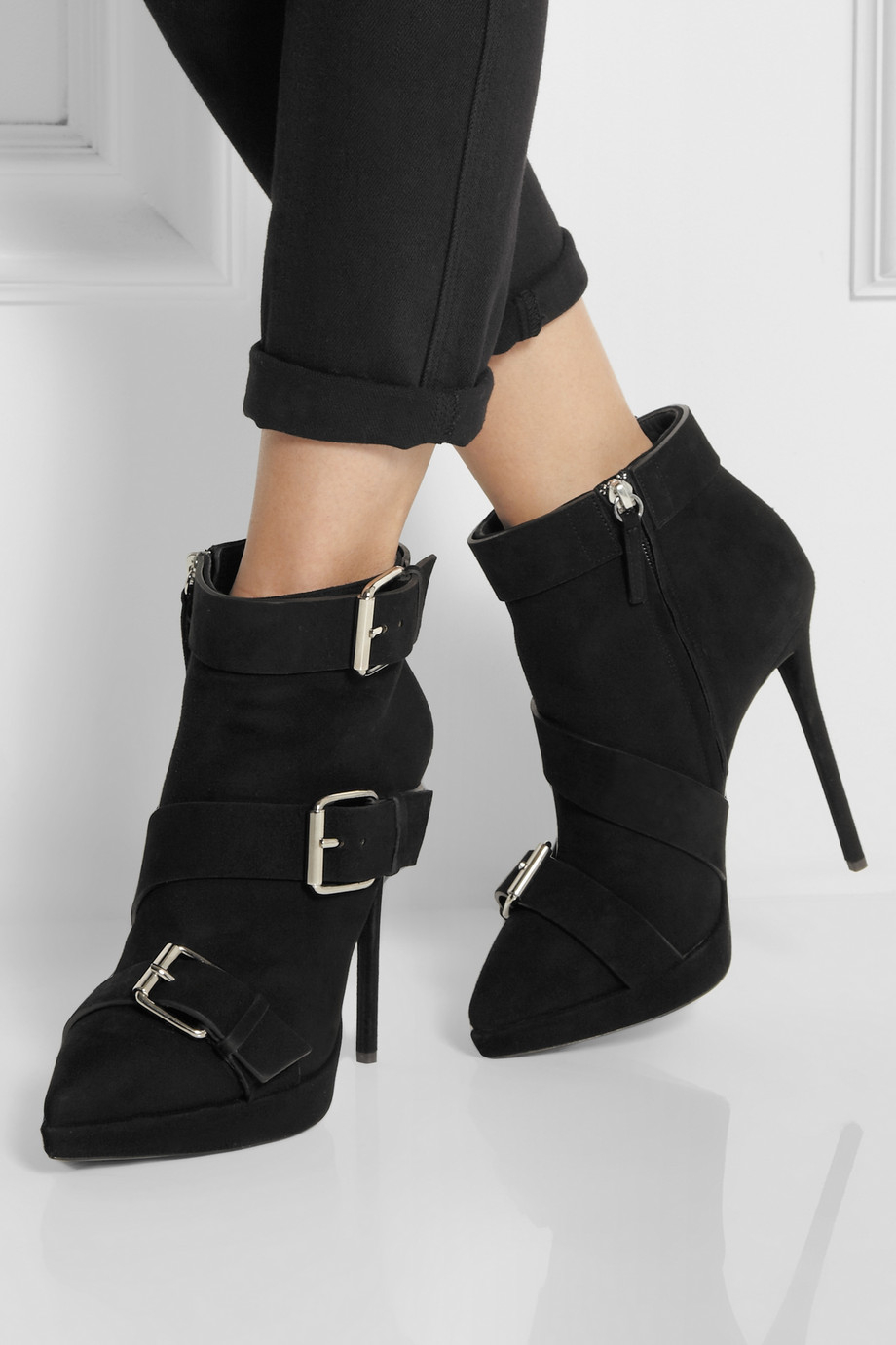 lyst giuseppe zanotti buckled suede ankle boots in black rh lyst com