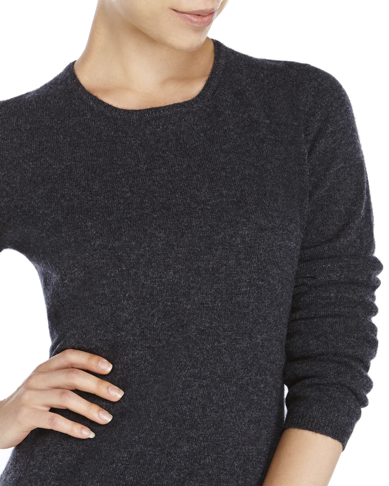 Qi Crew Neck Knit Cashmere Sweater in Gray | Lyst