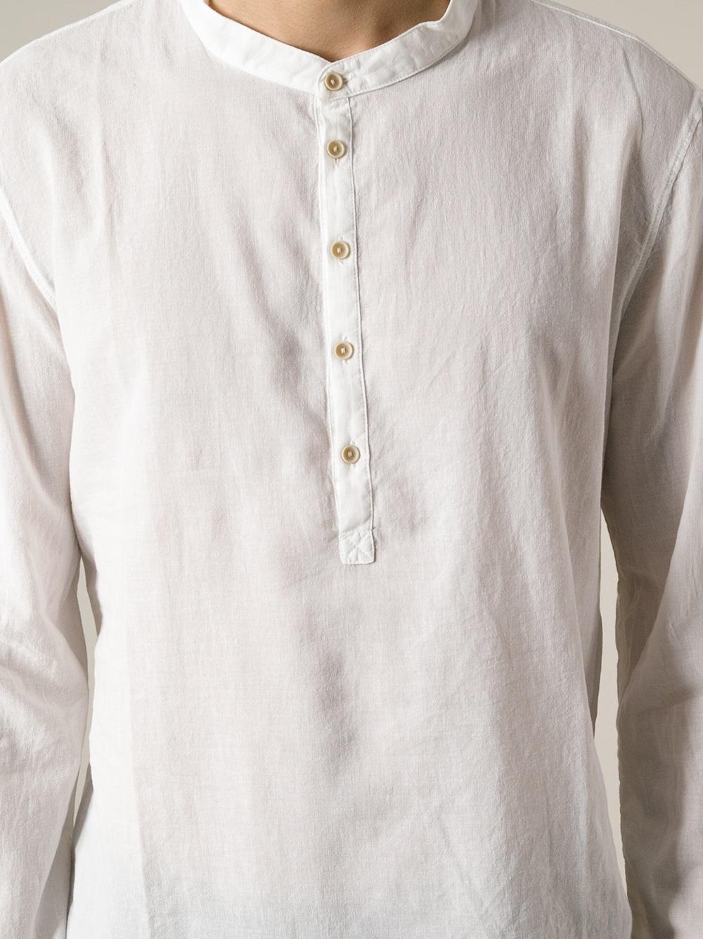 Lyst Poeme Bohemien Kaftan Style Shirt In White For Men