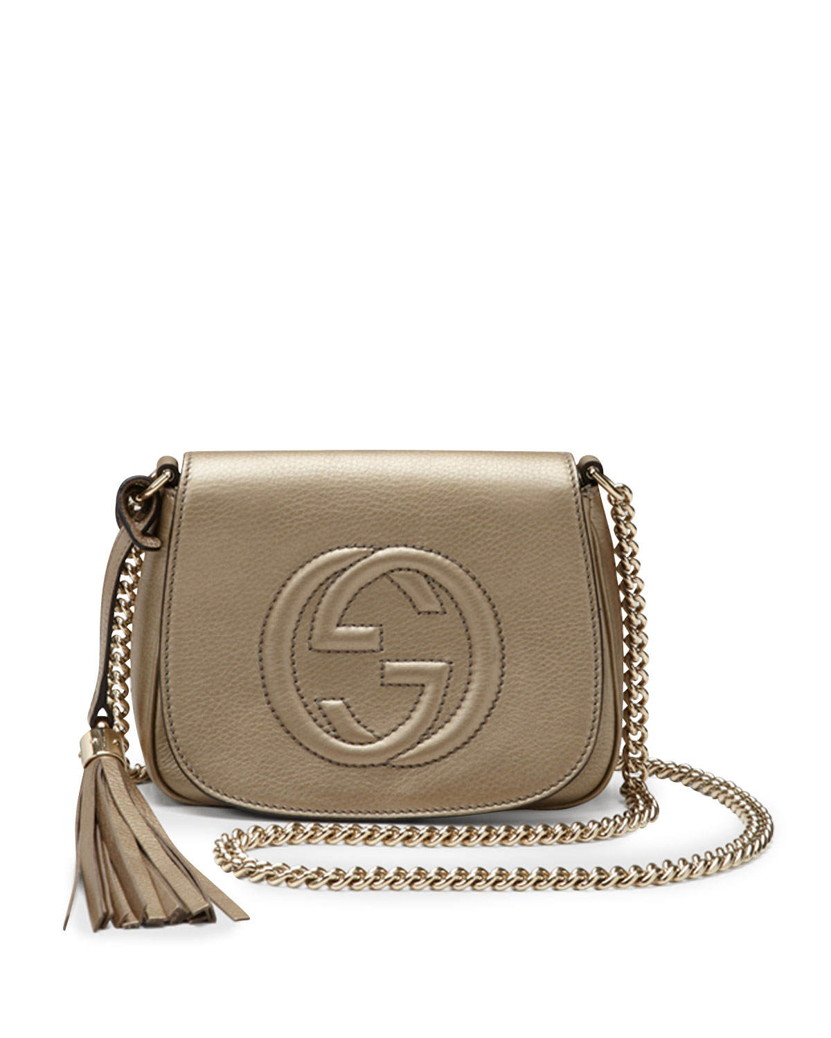 Gucci Soho Metallic Leather Chain Crossbody Bag In Natural