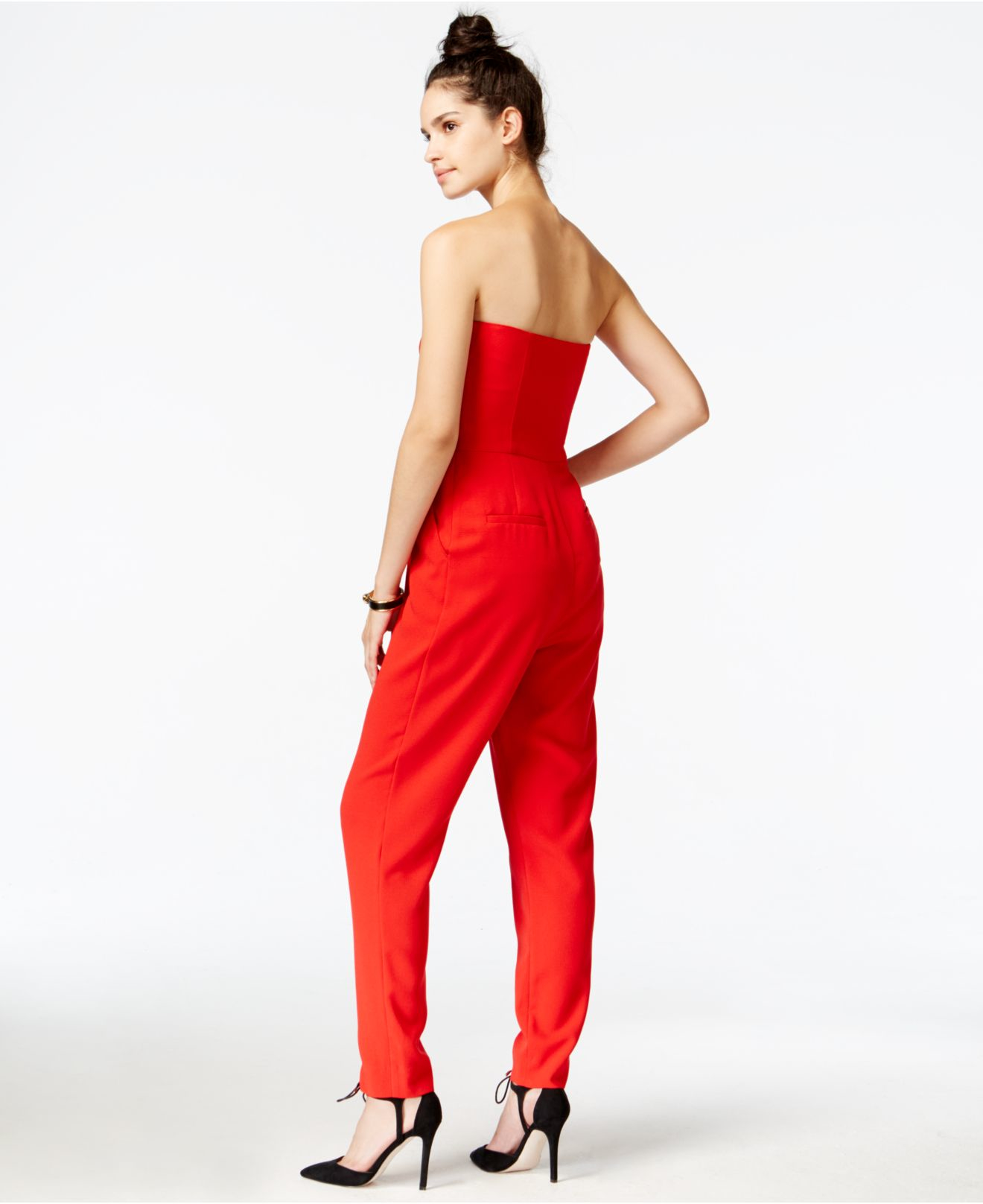 Rachel rachel roy Strapless Jumpsuit in Red | Lyst
