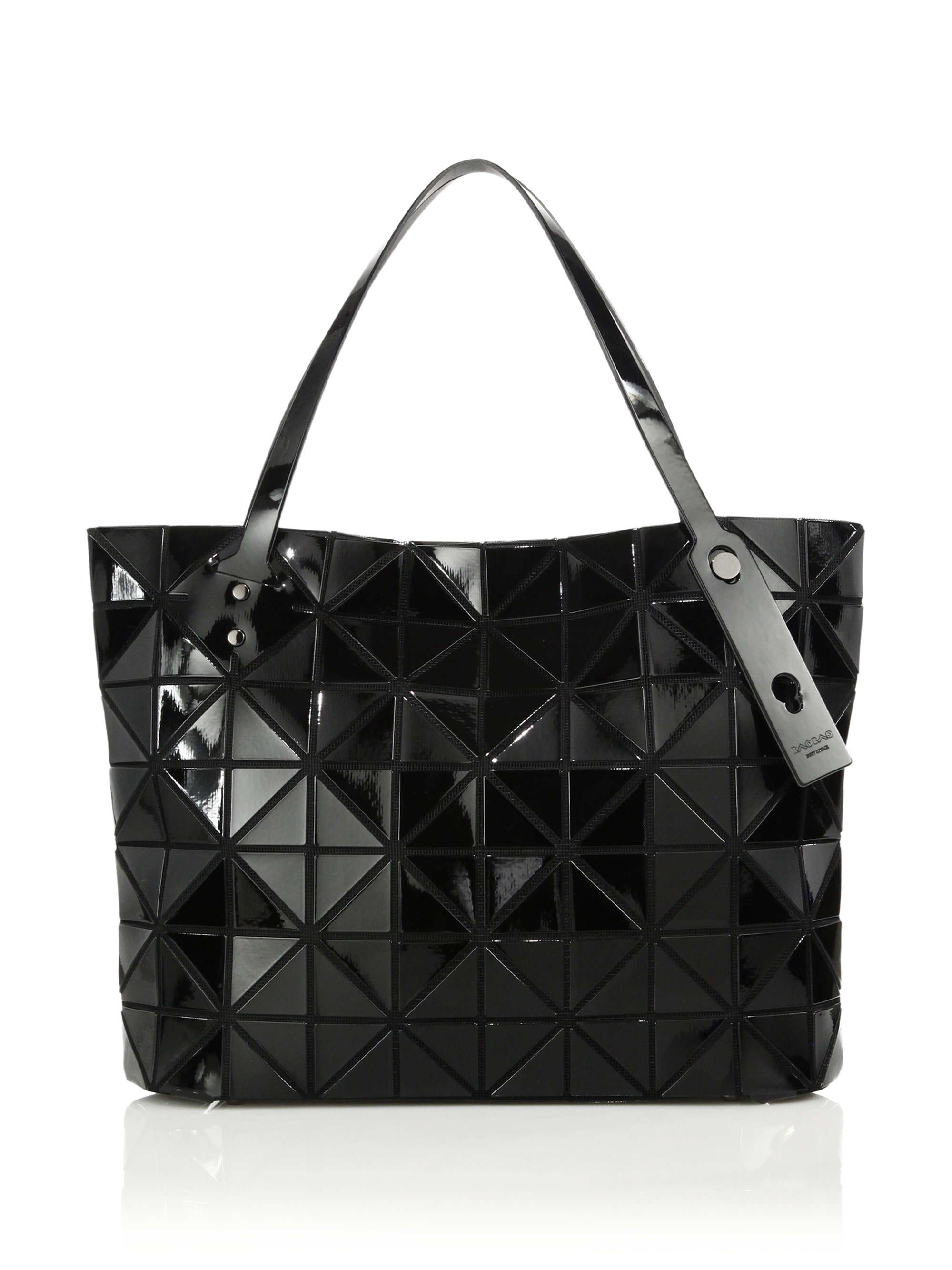 Lyst - Bao Bao Issey Miyake Rock Basic Faux Leather Tote in Black 35ca0ffb581d8