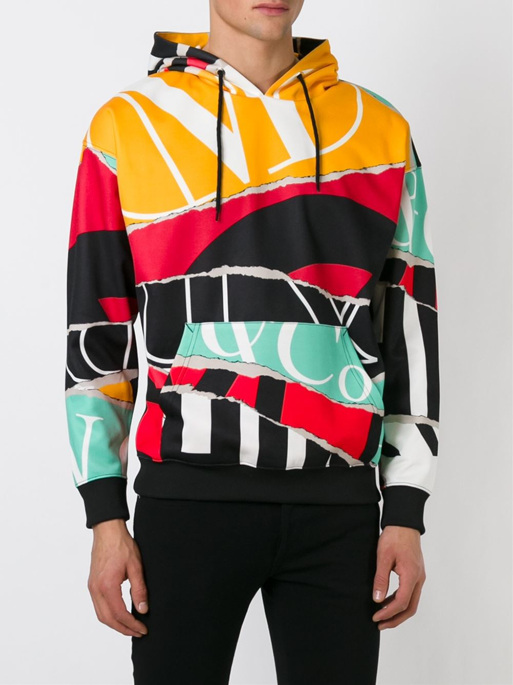 Moschino Ripped Paper Print Hoodie For Men Lyst